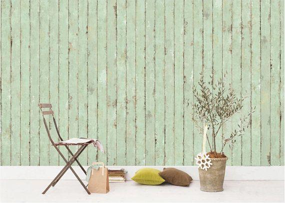 Mint groene Vintage streep behang 18.5 x 118 van DreamyWall op Etsy