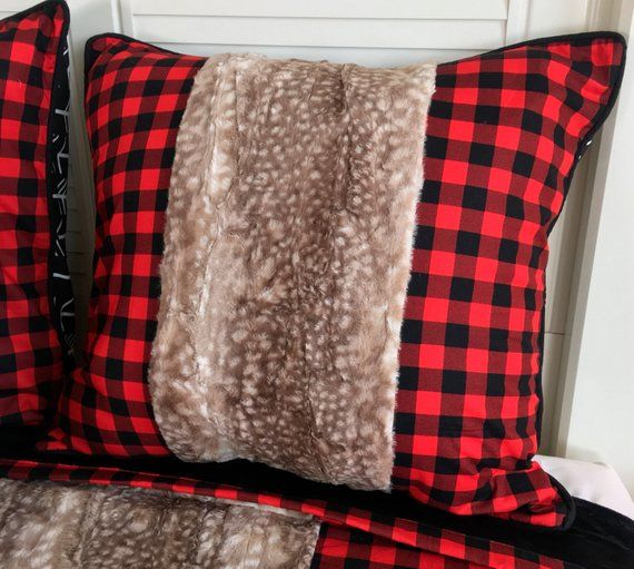 Axis Hide Euro Sham Red And Black Buffalo Check Euro Shams Red And Black Euro Shams Children S Pillows And Bedding Big Boy Bedding Rustic Bedding Childrens Beds Kids Bedding Sets
