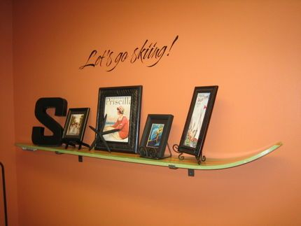 Upcycled / Repurposed / Reuse - Ski shelf. Devin could do this in his mancave with his skateboards. Doing this tonight sucka!
