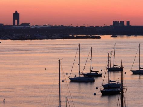 Boats in the Sea, Logan International Airport, Boston Harbor, Boston, Massachusetts, USA