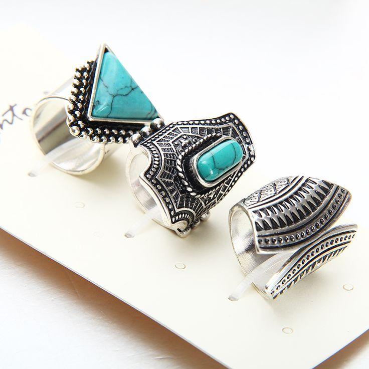 Горячая старинных кольцо комплект панк серебряный позолоченный каменные кольца для женщины / мужчины палец кольцо 3 шт. кольцо установить самым продаваемым 2016New мода купить на AliExpress