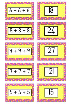 Use this game as an individual or group consolidation activity. The learner will match the sum to the correct answer. Use this activity for repeated addition, snap, symbol recognition, number recognition.Repeated addition matching game by Samantha Caine is licensed under a Creative Commons Attribution-NonCommercial-NoDerivatives 4.0 International License.