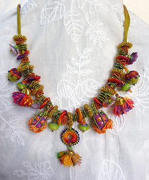Bohemian Baubles by Robyn Alexander - Made with silk ribbon, silk threads, beads, findings, fabric, sadi thread, wire, and all sort of weird and wonderful things to produce a stunning result.