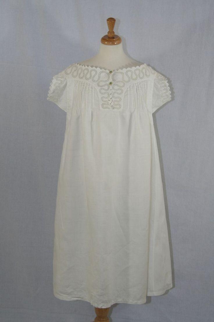 C 1890 S Antique Victorian Ladies Night Gown White Work