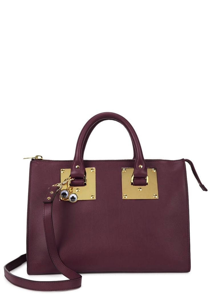 Sophie Hulme cranberry leather tote Two top handles, detachable adjustable  shoulder strap, hanging eye