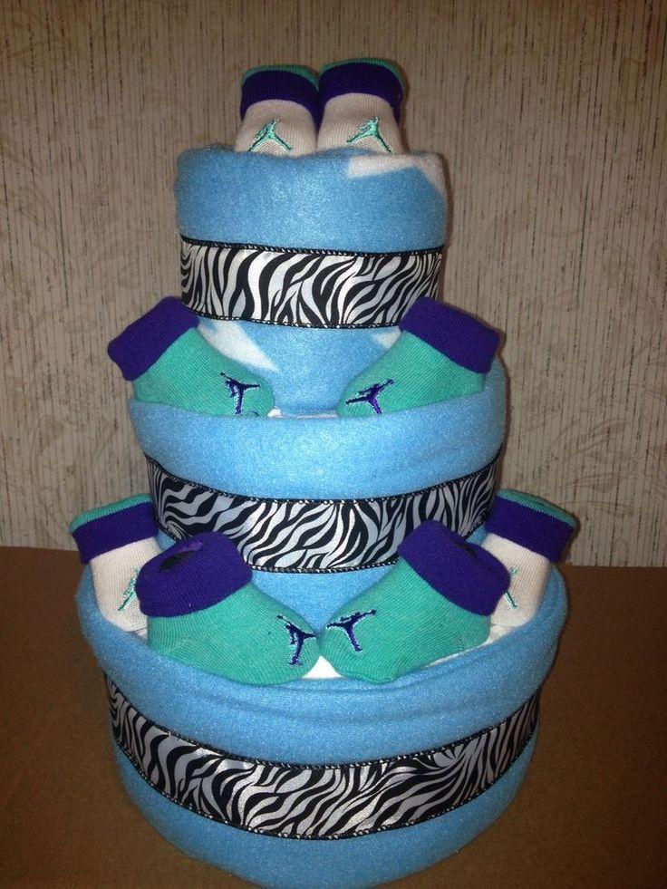 Jordan Baby Gift Baskets : New nike air jordan baby diaper cake aqua zebra print