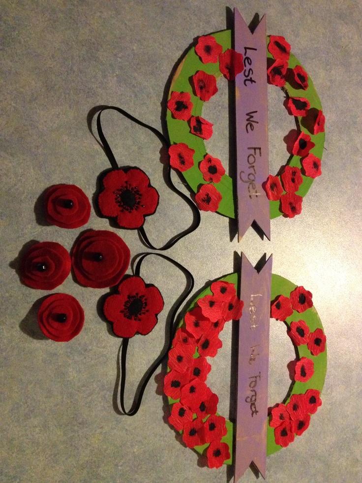 Anzac Day craft - felt poppy headbands, felt poppy badges and cardboard and crepe paper wreaths.