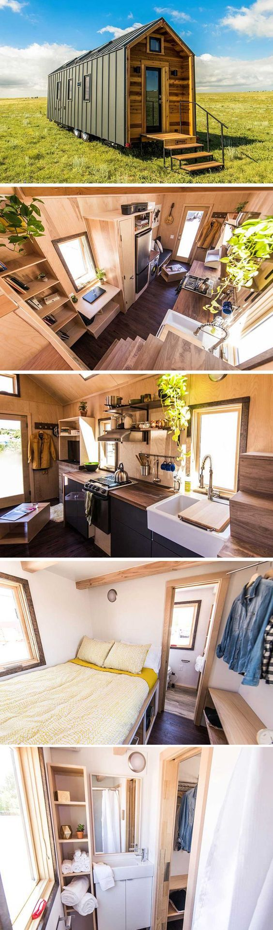 A 218 square foot tiny house featuring a standing seam metal roof and siding exterior. The unique wood and metal exterior create a modern aesthetic.
