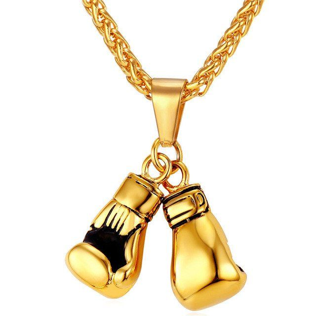 Boxing Gloves Necklaces & Pendants Gold/Black Color Stainless Steel