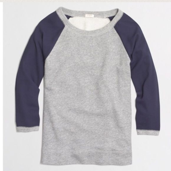NEW J.Crew Woven Sleeve Sweatshirt so cute J.Crew Heather Grey and Navy Sleeve Sweatshirt. Cotton with woven polyester sleeves. Dress up with a statement necklace and skinny jeans! no tradeno PPPRICE IS FIRMunless bundled. I can do 10% off J. Crew Tops Sweatshirts & Hoodies