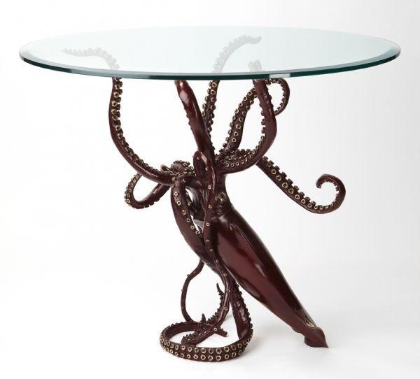 #Bronze #sculpture by #sculptor Kirk McGuire titled: 'Legend (Table version Bronze Squid sculpture/statue for sale)'. #KirkMcGuire