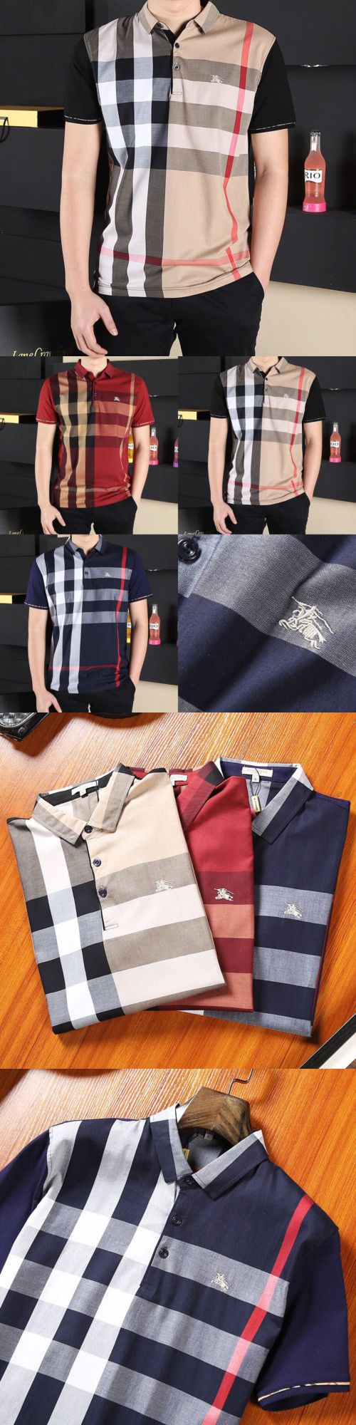 clothing and accessories: Burberry Brit Men Casual Short Sleeve Polo Shirt Men T-Shirt Adult Size M-3Xl -> BUY IT NOW ONLY: $77.88 on eBay!