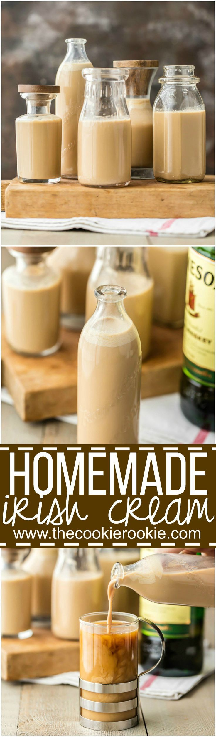 You will never guess how easy to make HOMEMADE IRISH CREAM at home and on the cheap! Such a great addition to cocktails, coffee, or ice cream. We always have a batch on hand! Perfect whiskey cocktail for St. Patrick's Day!