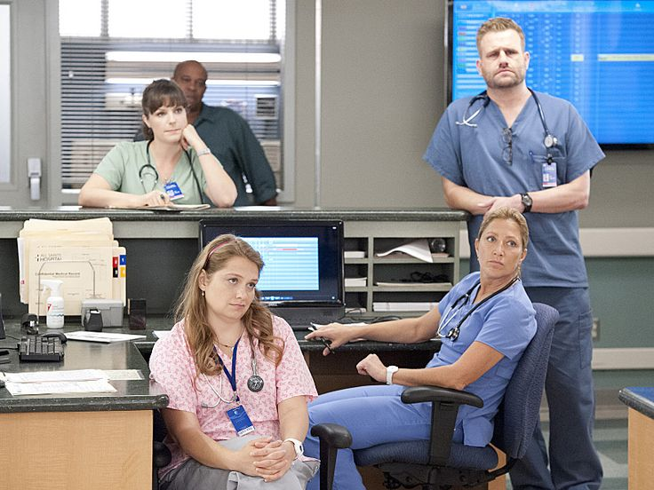 Edie Falco, Merritt Wever, and Stephen Wallem in Nurse Jackie (2009)