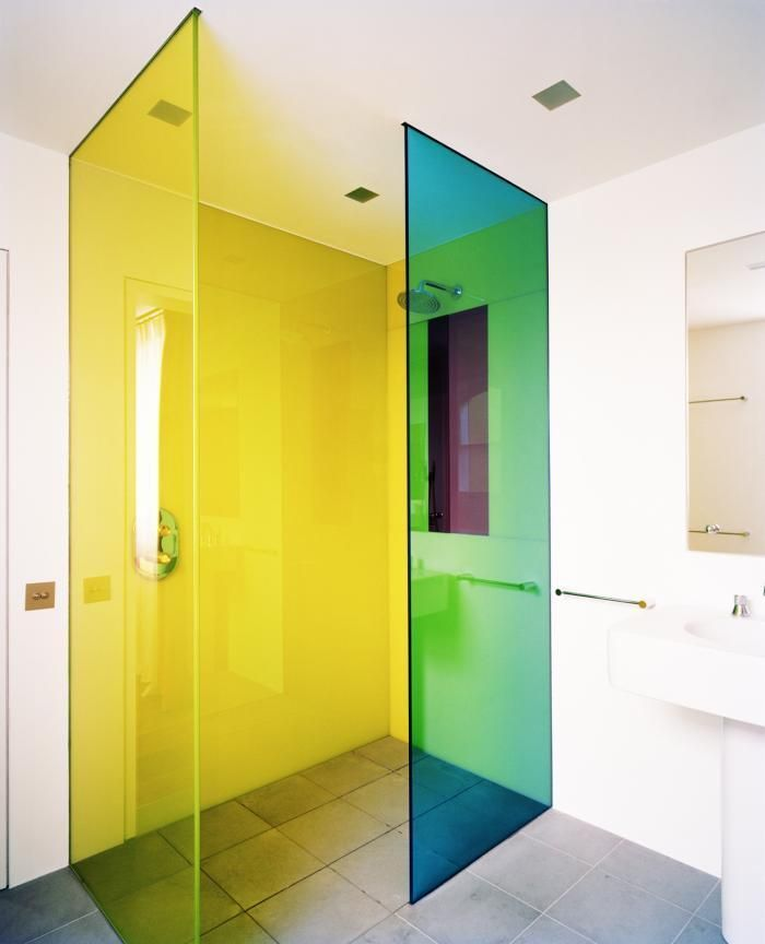 Awesome multi colored flourescent shower doors Rundell Associates Remodelista