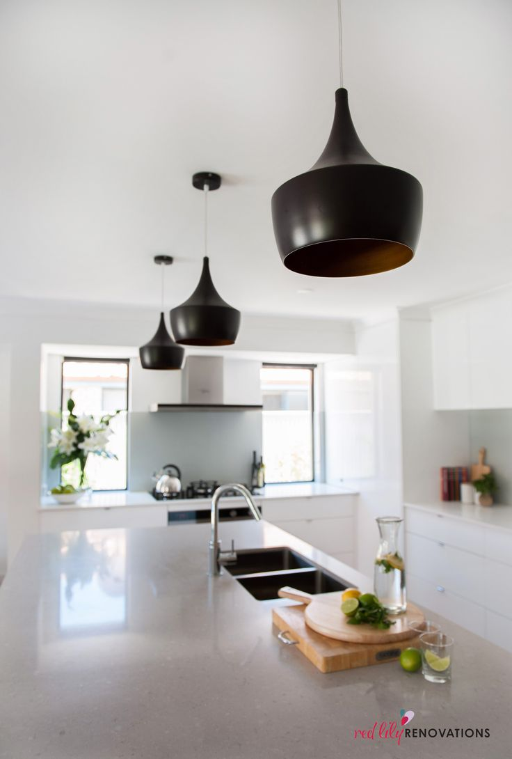 These black feature lights are gorgeous in this concrete and white kitchen.  Beacon lighting Espresso 1 Light Pendant in Dark Coffee/Gold