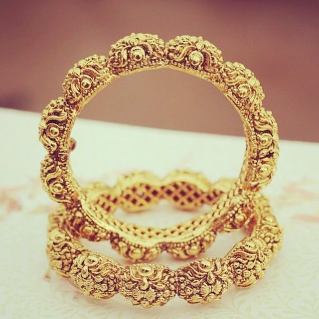 ETHNIC GOLD PLATED BANGLE PAIR