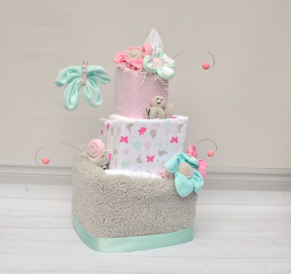 Diaper Cake for Baby Girl Unique Diaper Cake Baby by babyblossomco