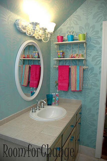Love the colors for a fun, flirty, girl bathroom