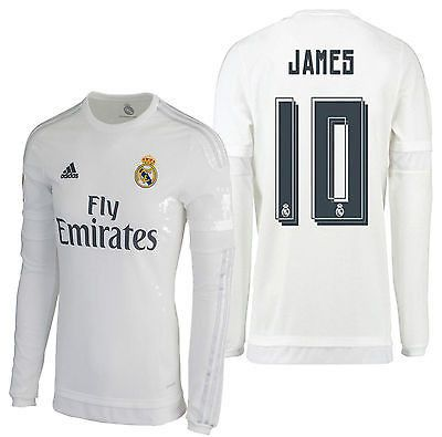 1b446eaa3 ... ADIDAS JAMES RODRIGUEZ REAL MADRID LONG SLEEVE HOME JERSEY 201516 ...