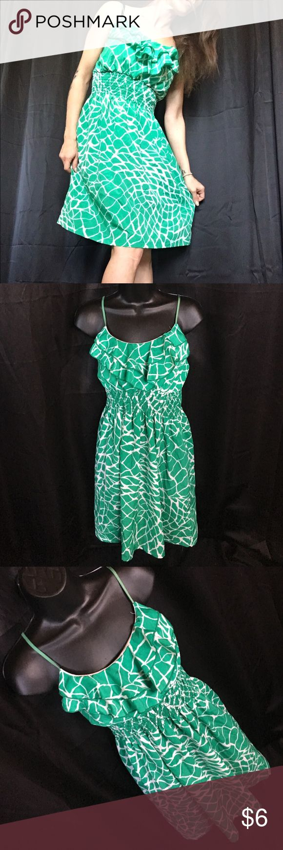 "Body Central Dress Green & white in color,ruffle design on base of breast, full length front 30 1/2"",full length back dress starts about should blade 26 1/4"", from top of shoulder strap down to base of under pit 8"" drop,bust width 12"",waistline with 12"" with about 2 1/2"" stretch. Body Central Dresses"