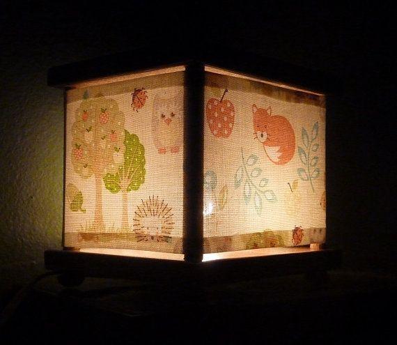 Cream Neutral Forest Animal Night Light Lamp Hedgehog Owl
