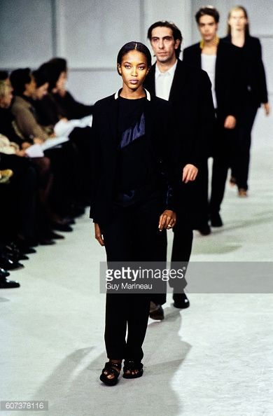Model walking the Helmut Lang Spring 1997 RTW collection. (Photo byGuy Marineau/Condé Nast via Getty Images)Naomi Campbell
