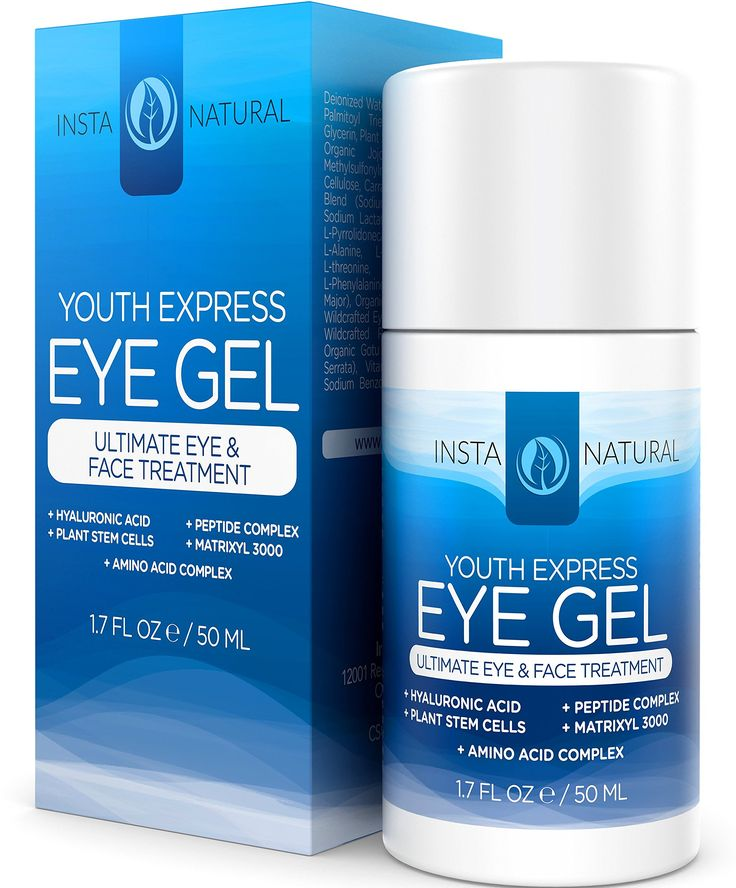 Eye Cream for Wrinkles, Dark Circles, Puffiness & Bags - BEST 100% Natural Anti Aging Gel With Hyaluronic Acid, Organic Jojoba Oil, MSM, Peptides & More - For Men & Women - InstaNatural - 1.7 OZ: