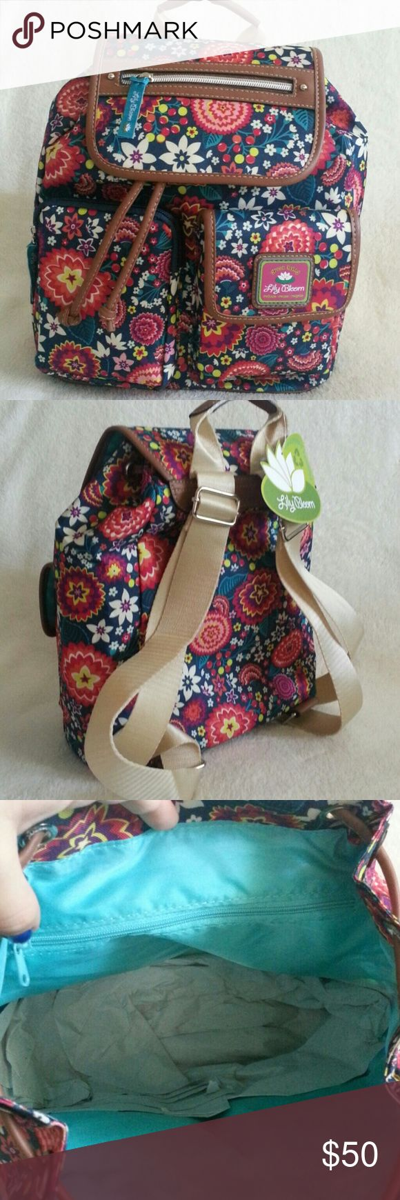 "SALE NWT Lily Bloom Riley Backpack Style color Electric Floral Measurements 10.5"" x 5.5"" x 12"" Straps can adjustable PRICE IS FIRM Lily Bloom Bags Backpacks"