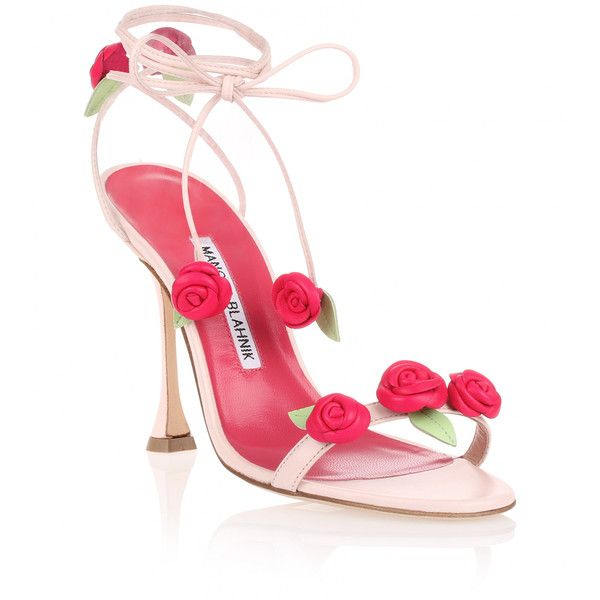 Manolo Blahnik Xafiore Pink Leather Rose Sandal ($1,235) ❤ liked on Polyvore featuring shoes, sandals, heels, pink, high heel sandals, pink high heel shoes, heeled sandals, pink ballet shoes and ballerina shoes
