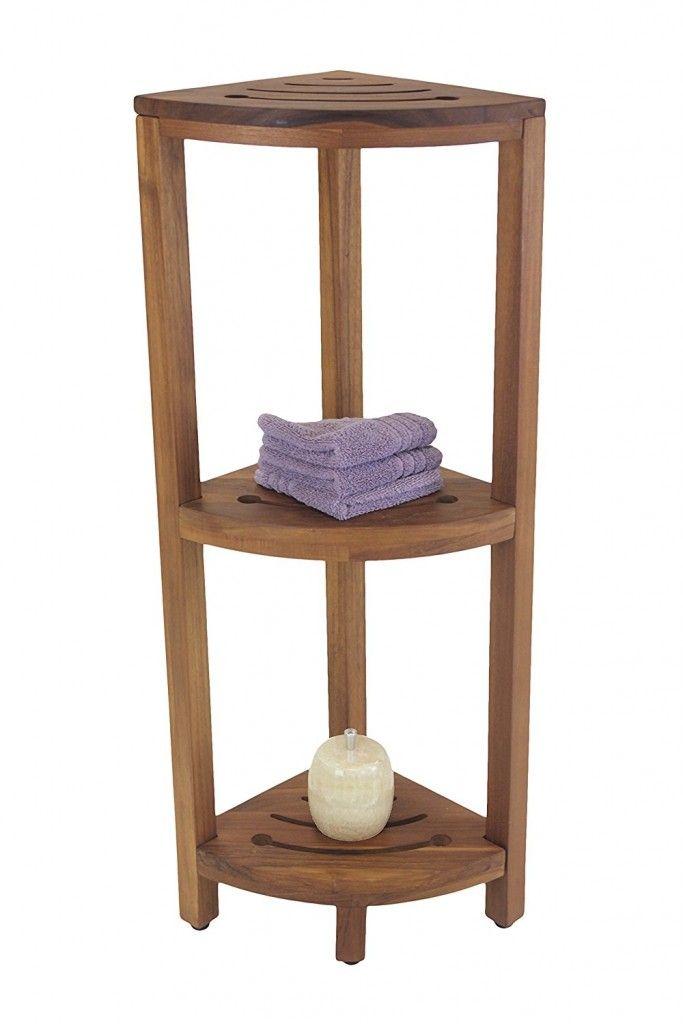 The Original Kai Corner Teak And Stainless 3 Shelf Corner Stand