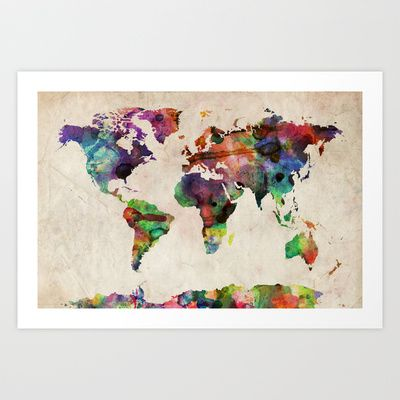 World Map Urban Watercolor Art Print by ArtPause - $18.72