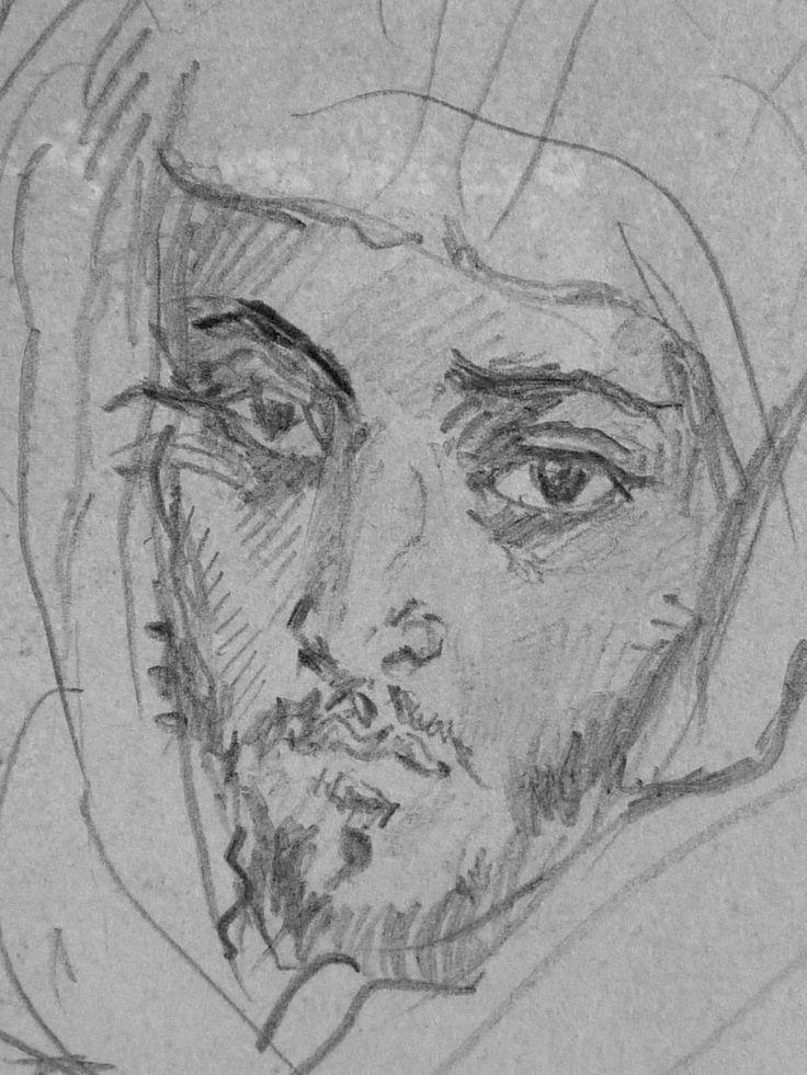 CHASSERIAU Théodore,1846 - Deux Arabes assis - drawing - Détail 30 - Dignité triste - Sad dignity -