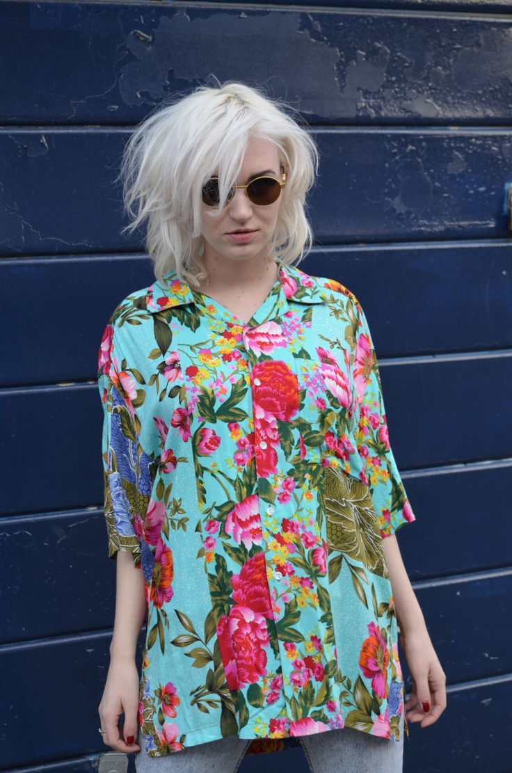 1980s Turquoise Tropical Shirt