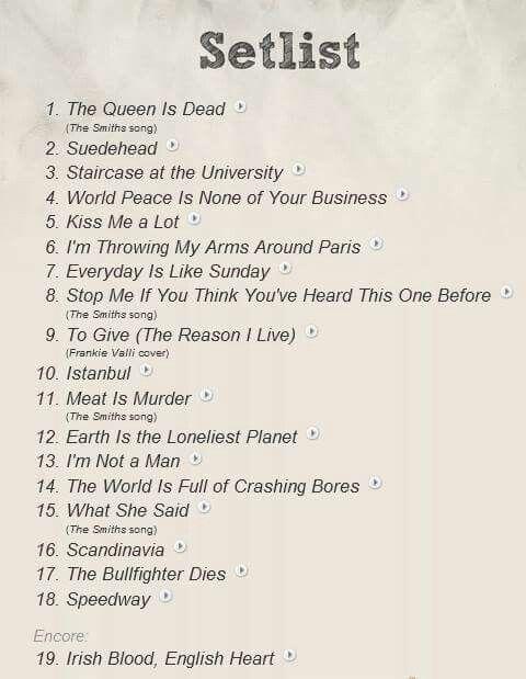 Morrissey set list
