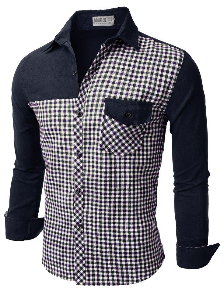 Mens Casual Corduroy Check Shirts (CMTSTL081)
