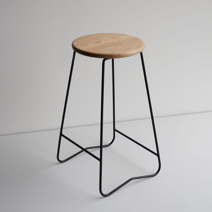 HOPA BLK bar stool  American Oak seat and black steel frame  made in Melbourne