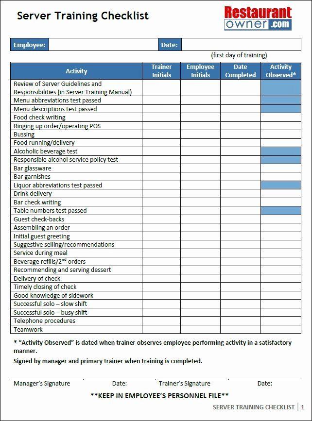 Workshop Planning Checklist New Server Training Checklist Cafe