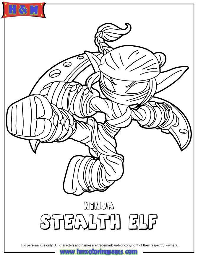 Skylanders Swap Force Life Ninja Stealth Elf Coloring Page Coloring Pages Detailed Coloring Pages Coloring Books
