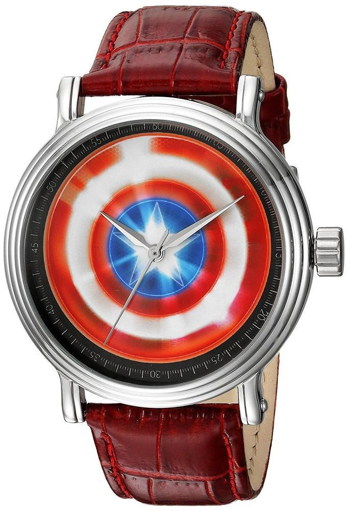 Marvel Men's 'Captain America' Quartz Metal Casual Watch, Color:Red (Model:... #Marvel