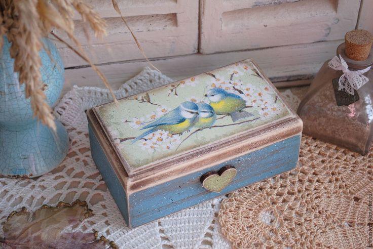 Купить Шкатулка Синички декупаж - шкатулка декупаж, шкатулка деревянная, шкатулка для украшений, шкатулка для мелочей