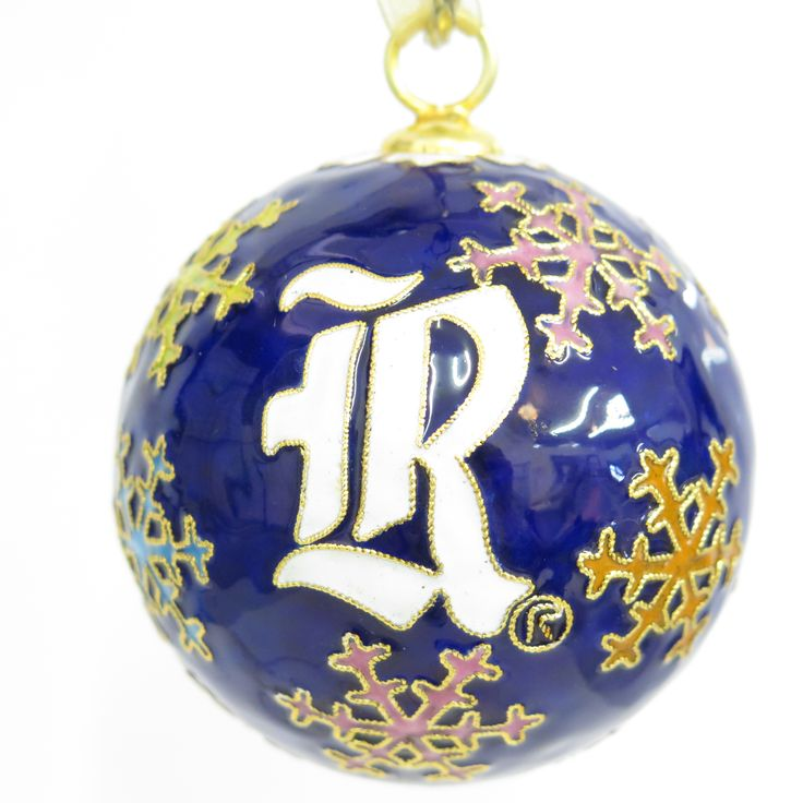 Officially licensed Rice University, handcrafted, 24k gold plated cloisonne ornament - www.KittyKeller.com