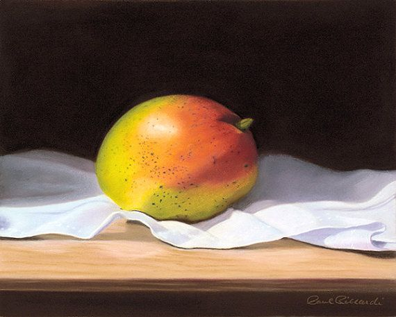 Mango Still Life Fruit Fine Art Inkjet giclee by PRPhotographyAndArt The original is a 8 in x 10 in pastel painting that has been reproduced as an archival giclee print on fine art paper.