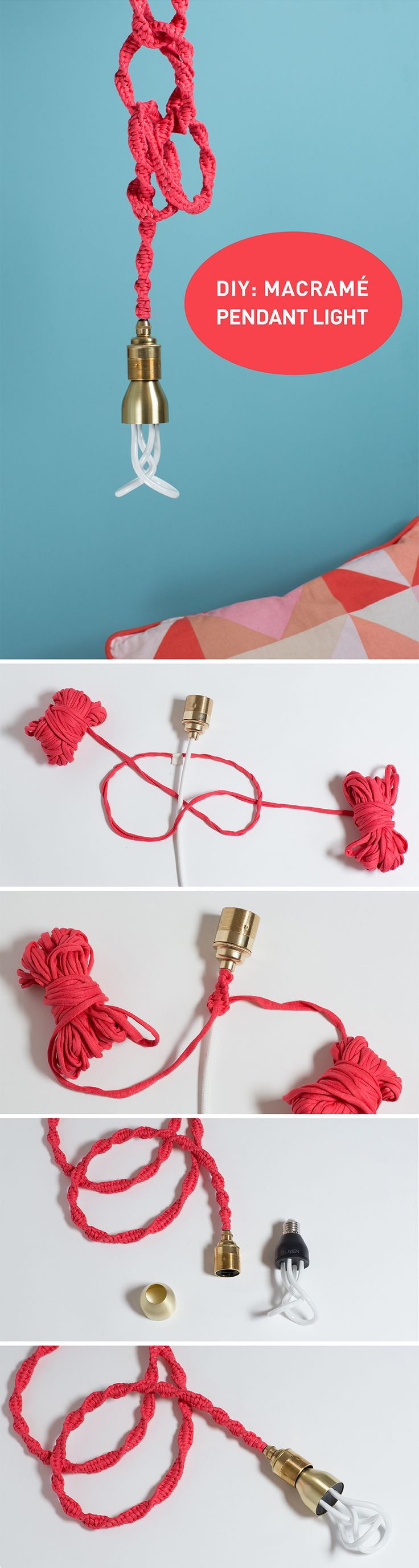 How to turn a plain cable into a fun, playful and colourful light using a very simple macramé knot.