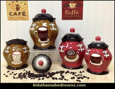 Vintage Napco Good Morning Platters Hand Painted Fleur De Lis Coffee Design Canister Set Kitchen Decorkitchen