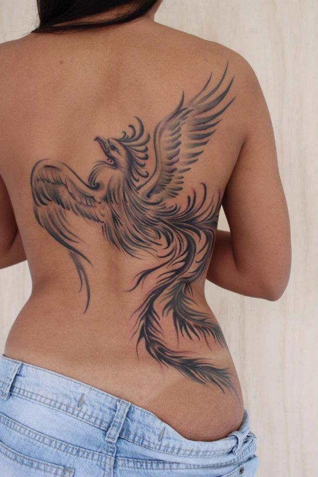 TATTOO FÊNIX: Tattoo fênix no preto e cinza