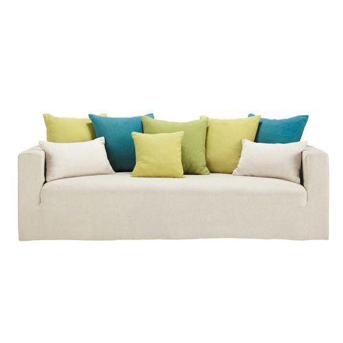 Divano fisso a 4/5 posti in lino con cuscini verdi - Louvain