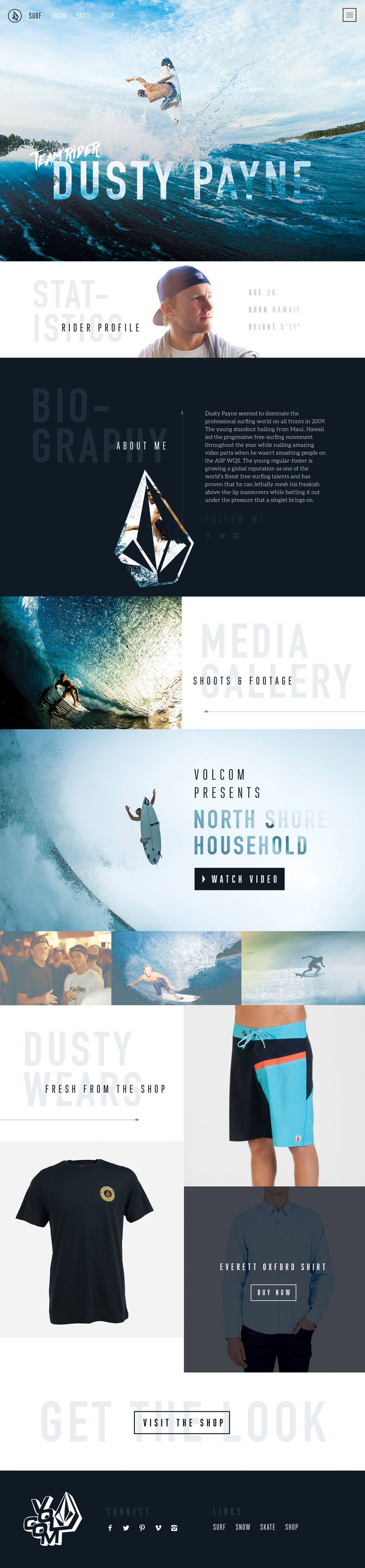 Volcom Website Concept by Nathan Riley for Green Chameleon