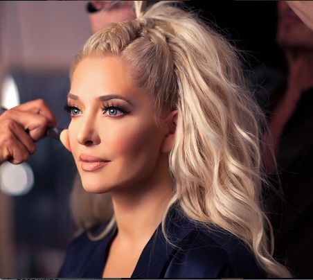 Erika Girardi/Jayne hair -- french braid down center, hair half up...