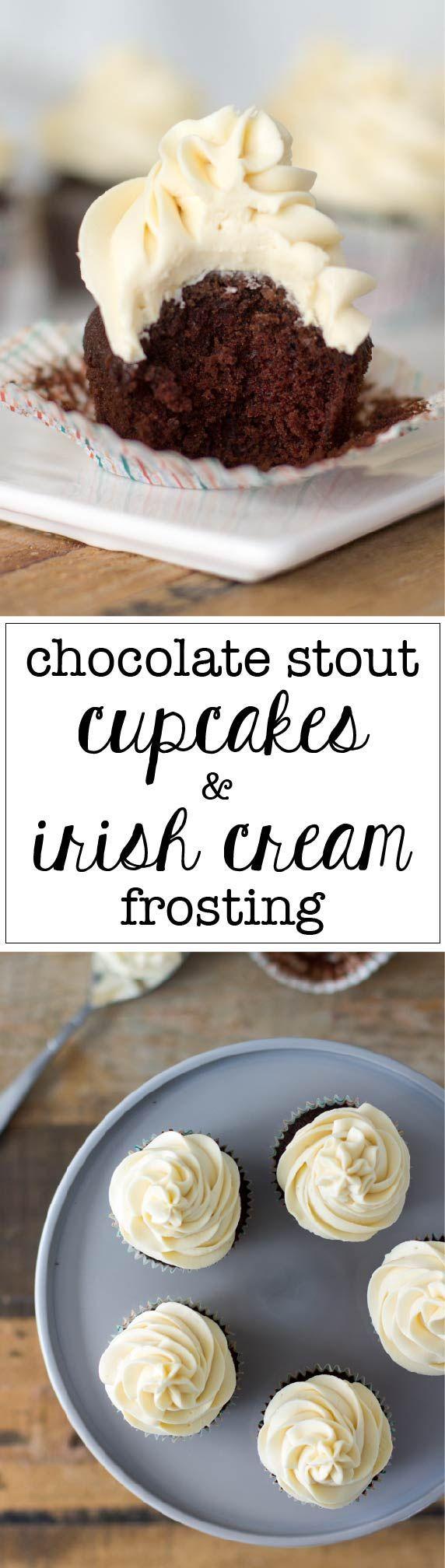 Moist, delicious chocolate stout cupcakes with the perfect Irish cream frosting. via @nourishandfete